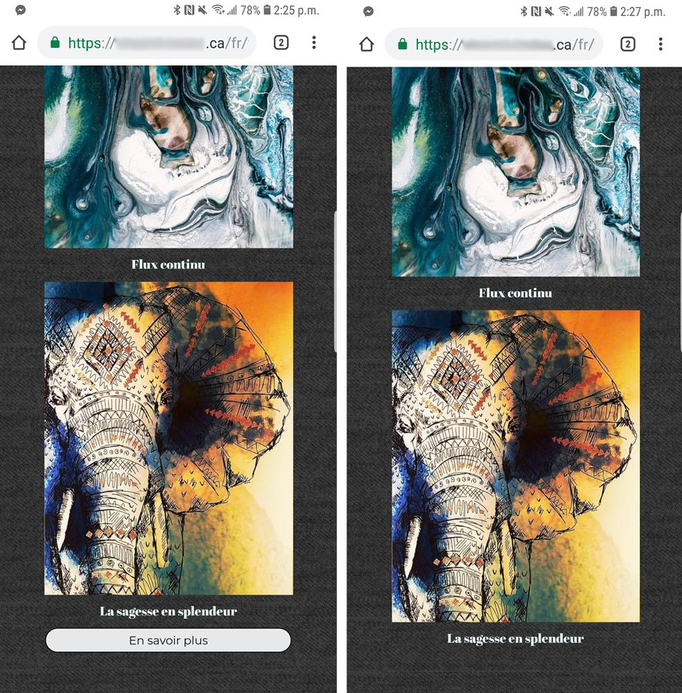 Modue caché mobile créateur sites web votresite