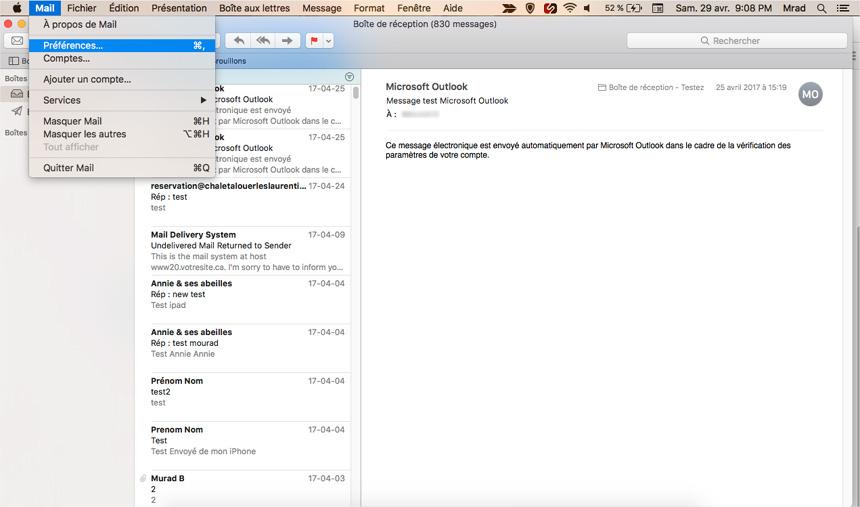 Mac Mail Configuration courriel nom de domaine