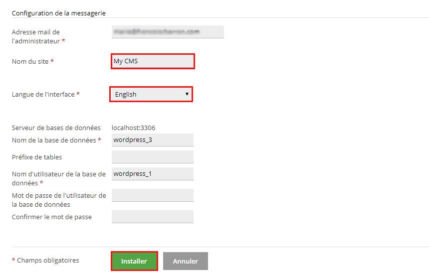 Messagerie et base de données Wordpress
