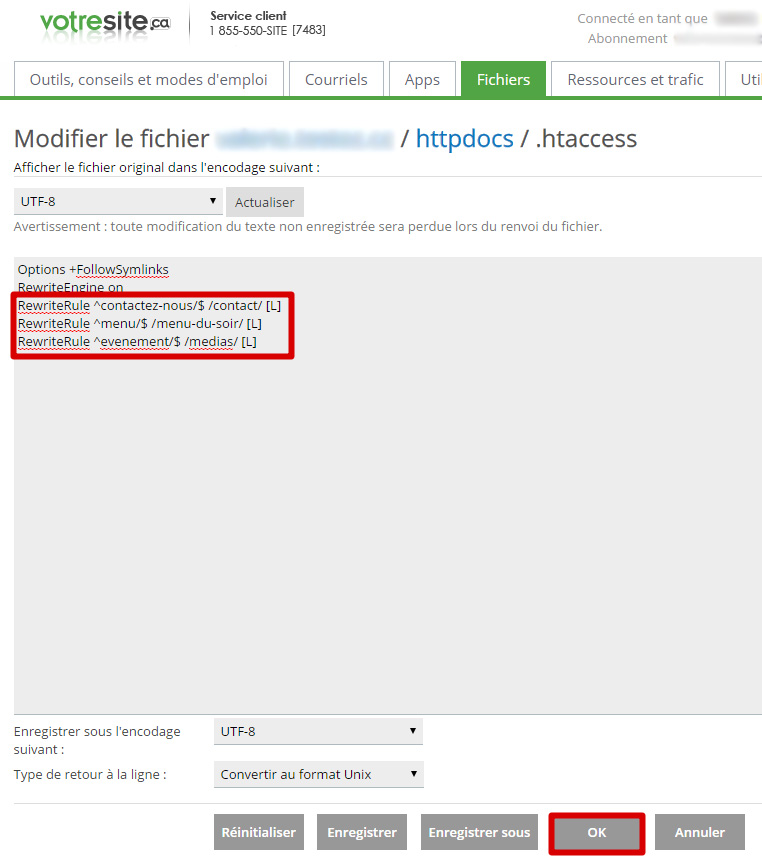 Modifier fichiers redirections