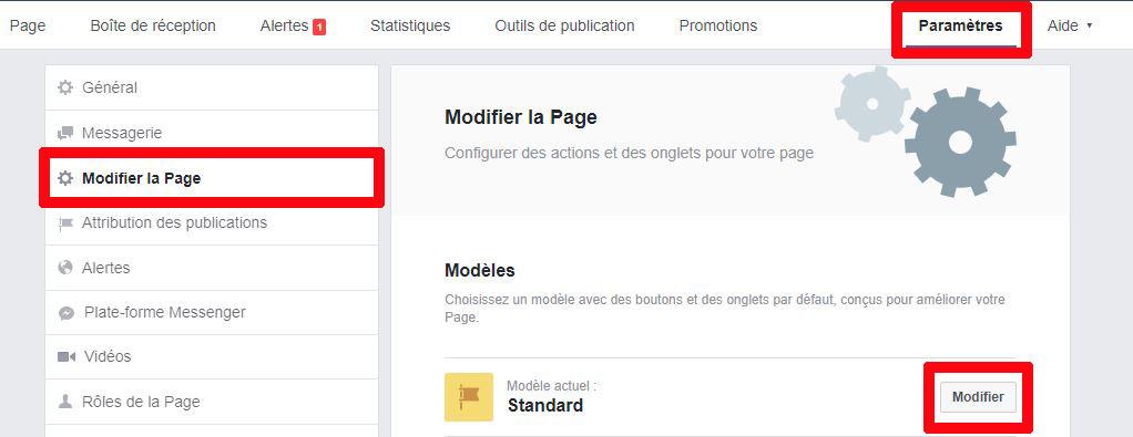 Modèles page Facebook