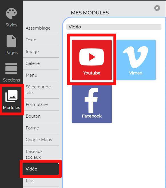 Modules YouTube créateur de site web votresite.ca