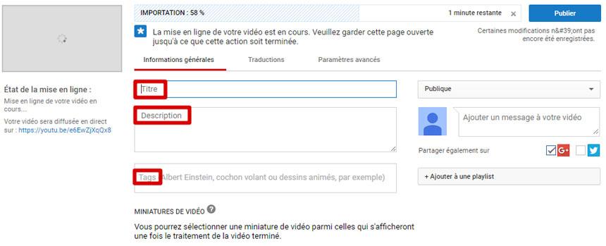 Mots-clés vidéo YouTube