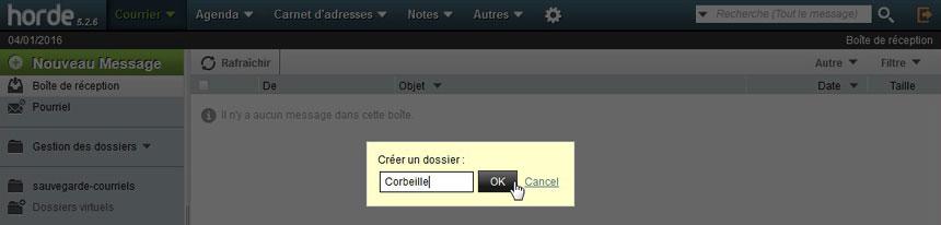 Nommer dossier corbeille dans Webmail