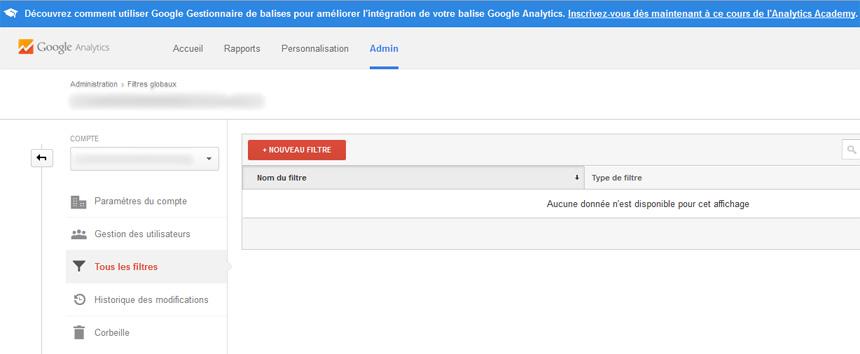 Nouveau filtre Google Analytics