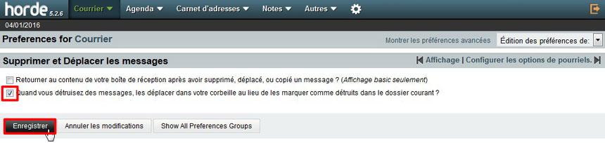 Option corbeille Webmail