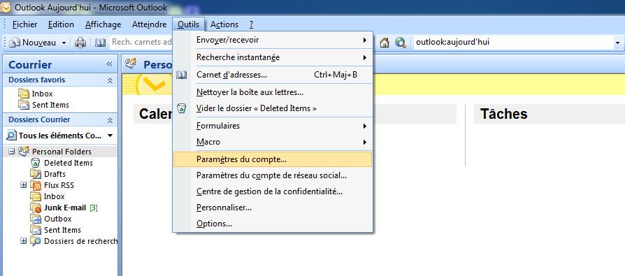 Outlook 2007 Outils Paramètres