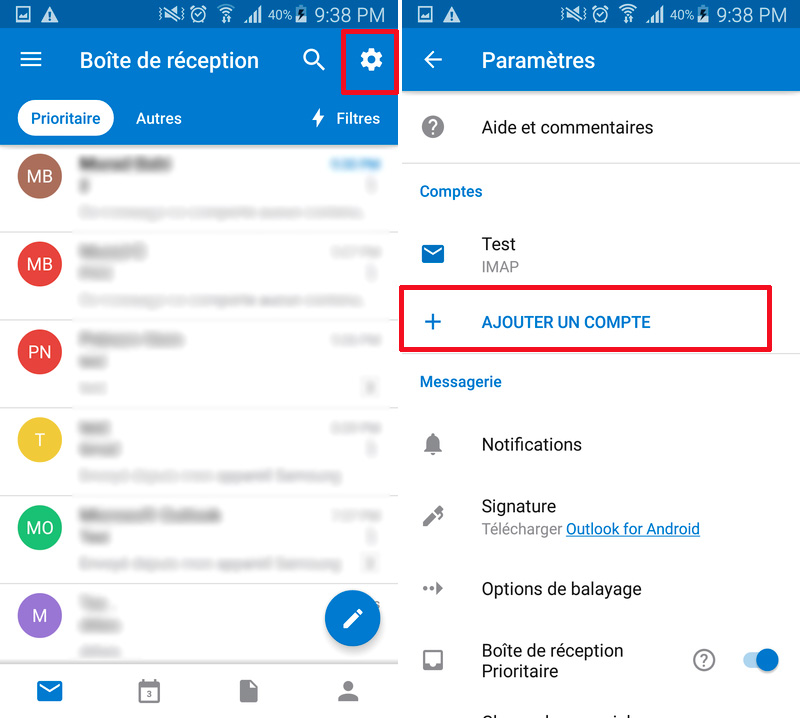Android Outlook Réglages
