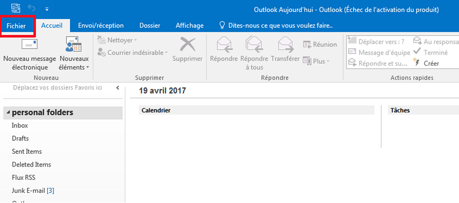 Outlook 2016 2013 Fichier