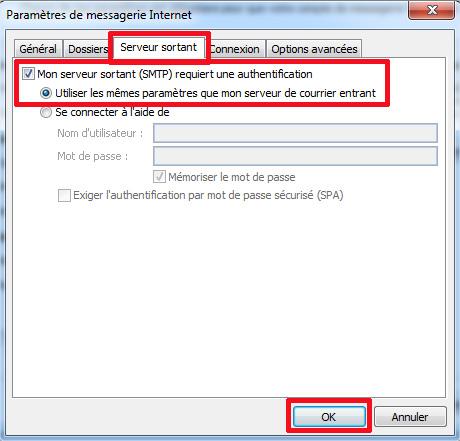 Outlook2007 serveurs sortants
