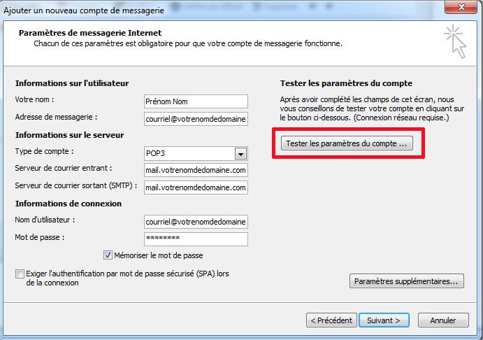 Outlook 2007 Tester paramètres