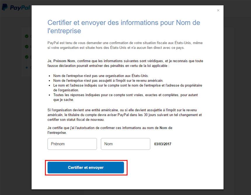 Certifier et envoyer