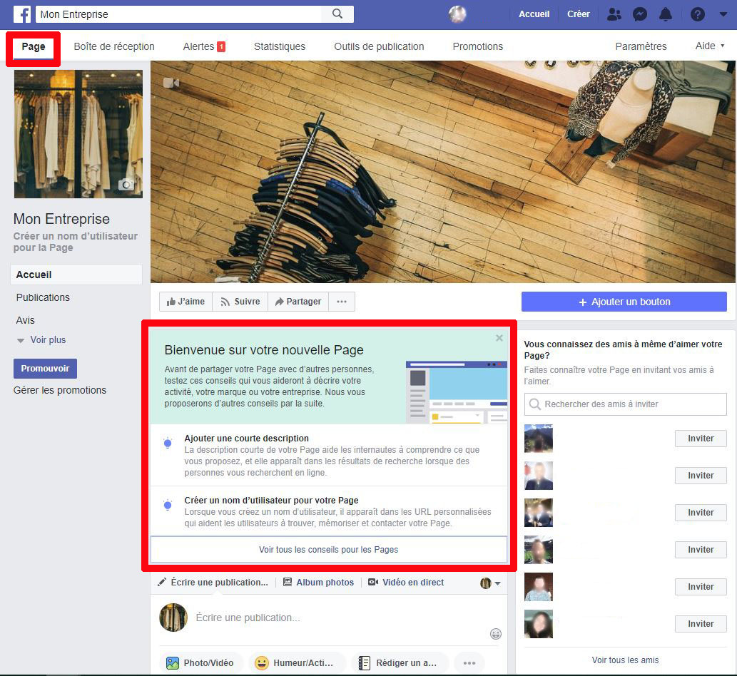Page Facebook configuration