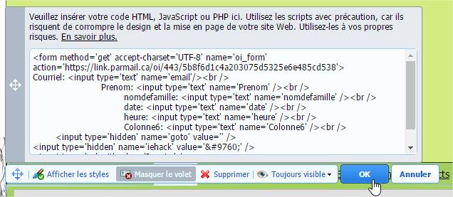 insérer code HTML