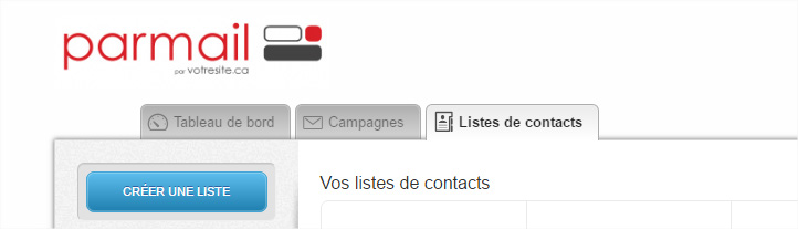 Parmail, liste de contacts