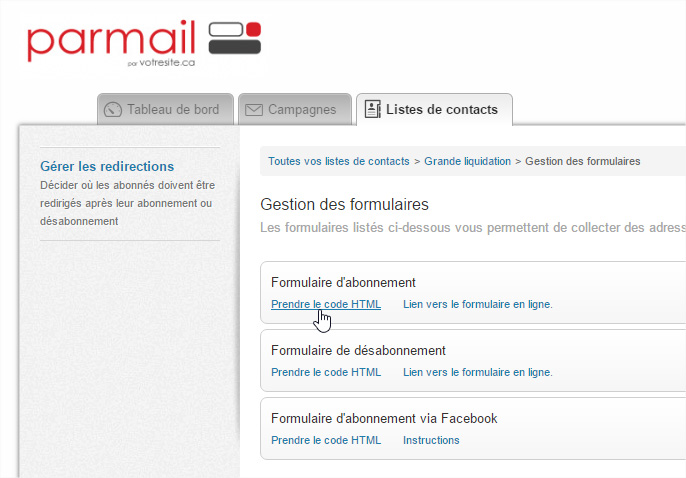 Parmail prendre code html