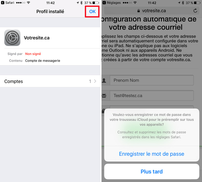 Configuration automatique courriel iPhone