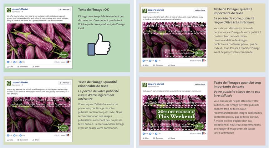 Publicité Facebook texte sur image