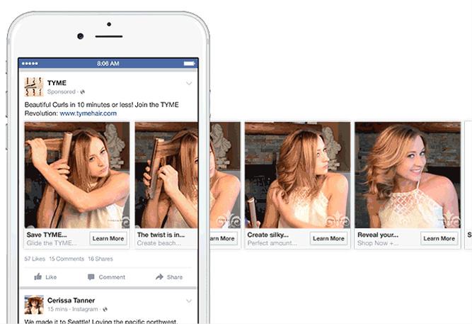 Publicités Facebook Carrousel