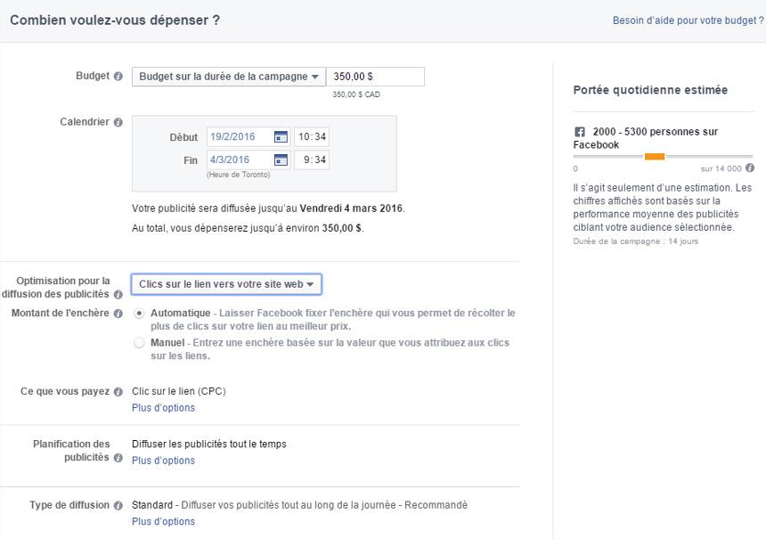 Publicité Facebook budget