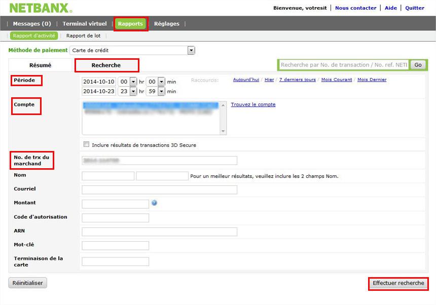 Rapports transactions Netbanx