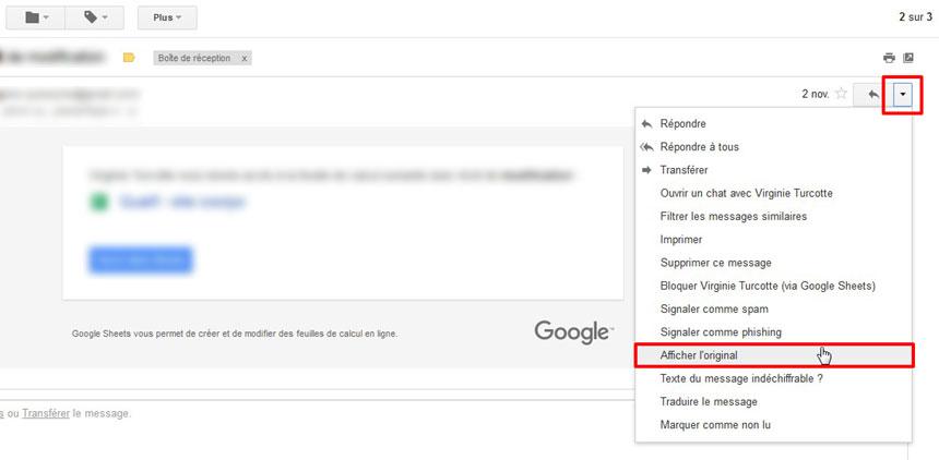 En-tête courriel Gmail