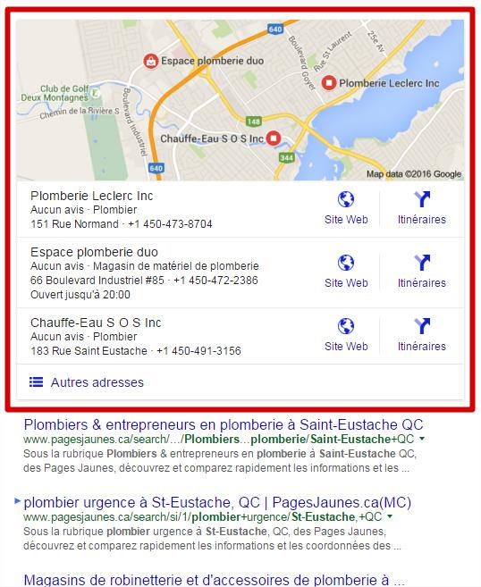 Résultats recherche Google locale