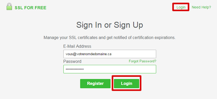 SSL for free Login