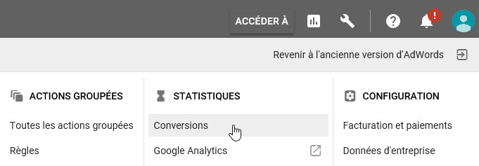 Suivi de conversion Google AdWords