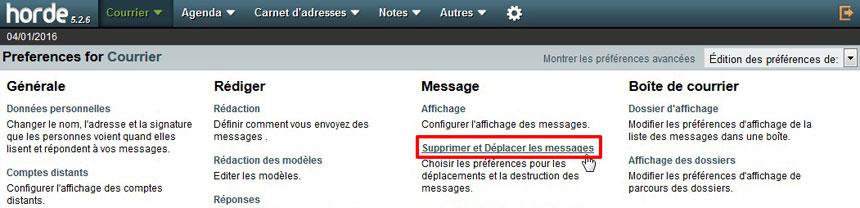 Supprimer messages Webmail