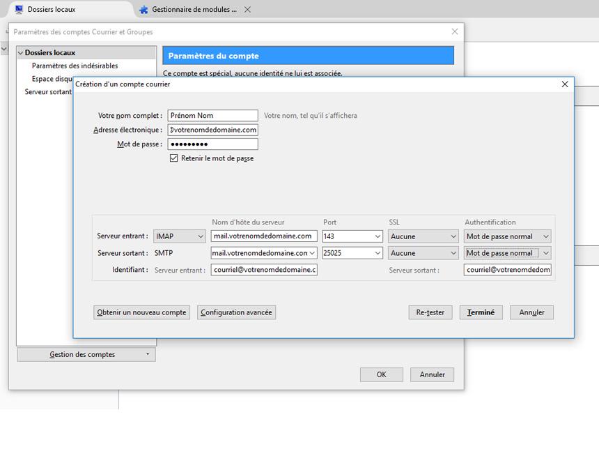 Thunderbird infos IMAP