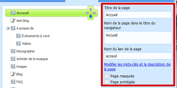 Titre pages site